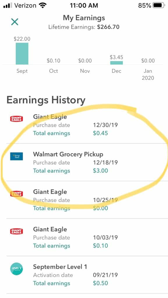cash back from Ibotta and walmart grocery service