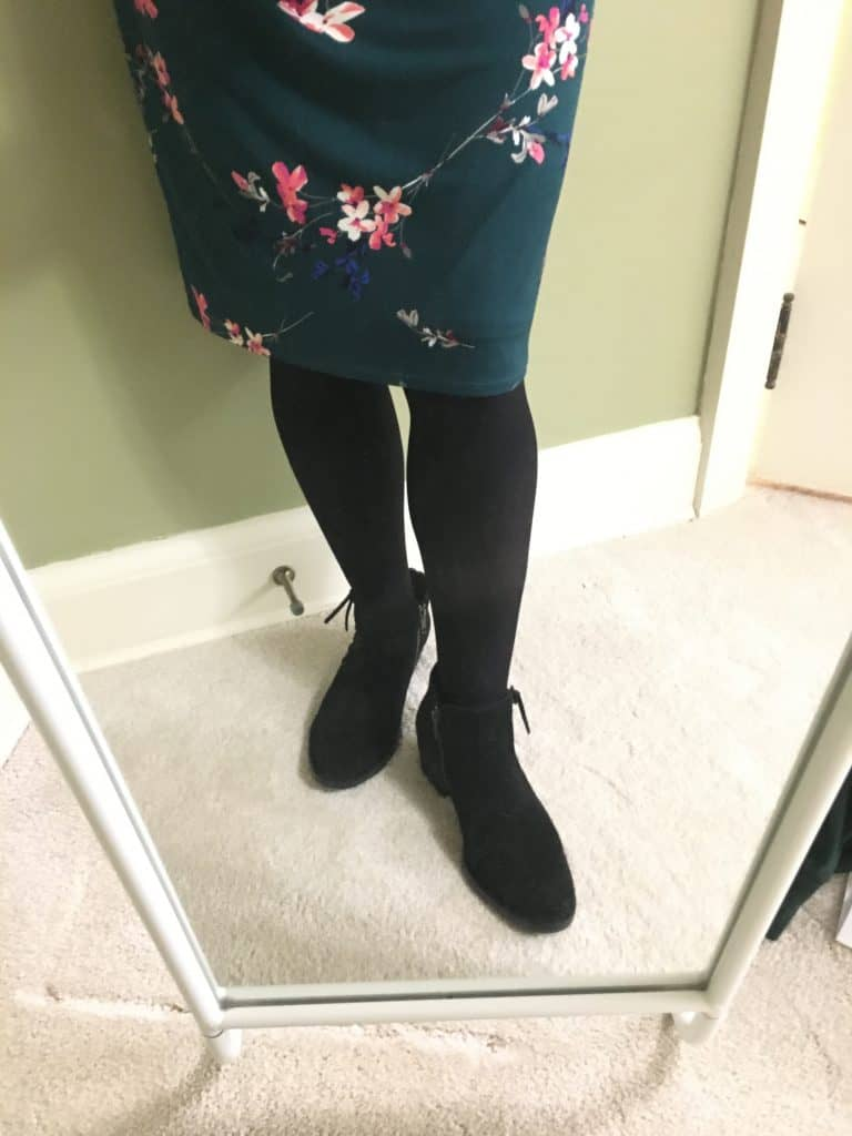 leah born booties with tights and dress