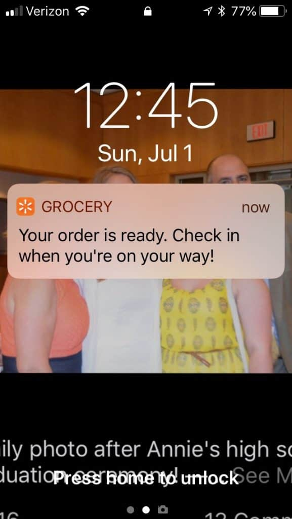 phone notification walmart grocery pickup service order ready