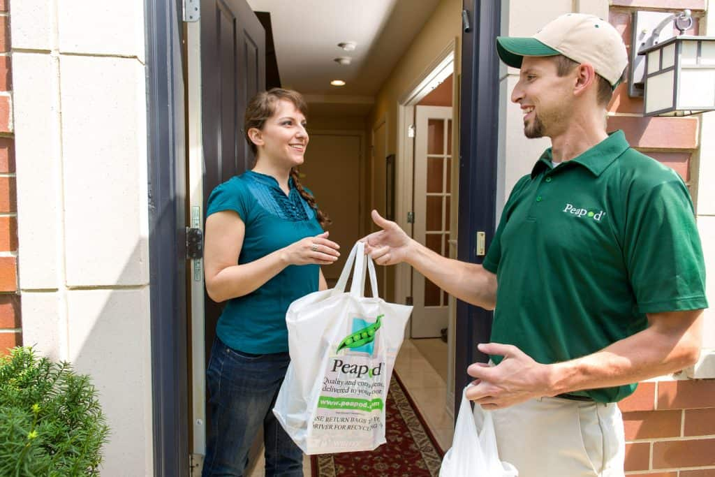 peapod will recycle the plastic grocery bags for you.
