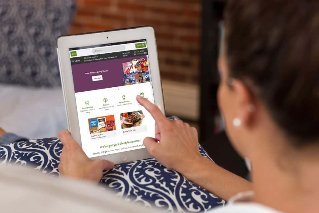 shopping on peapod on tablet