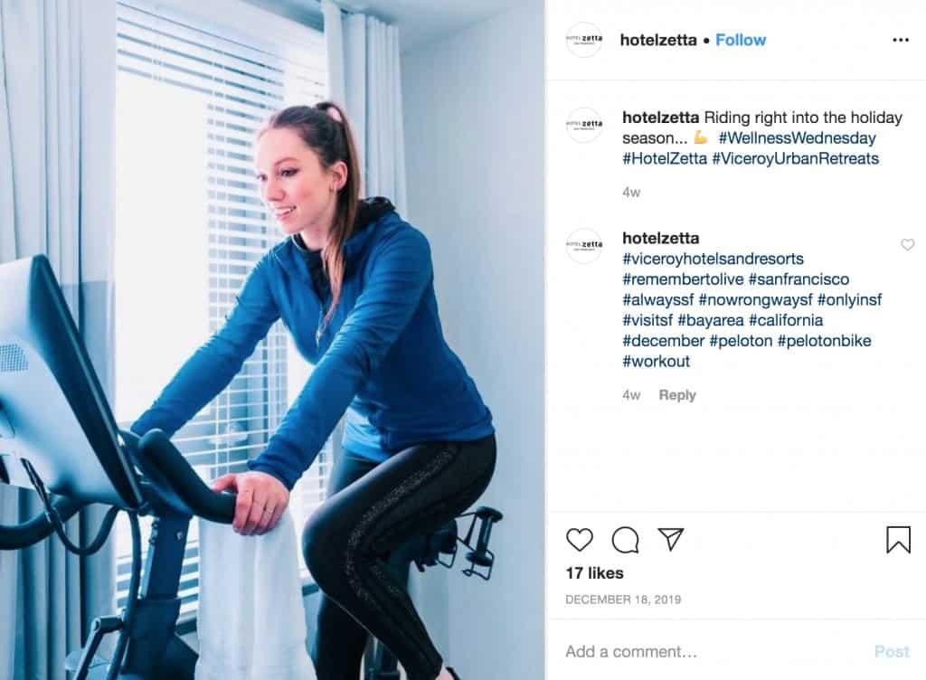 peloton bike hotel zetta instagram