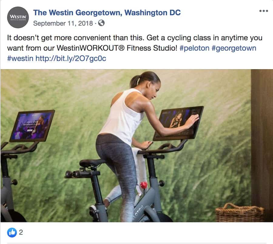westin georgetown peloton hotel bikes cycle