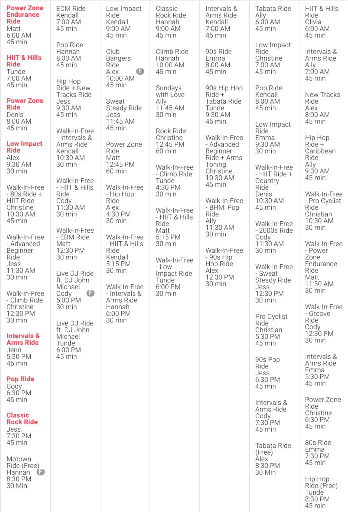 peloton live class schedule