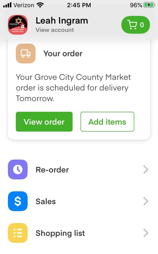 instacart reorder screen