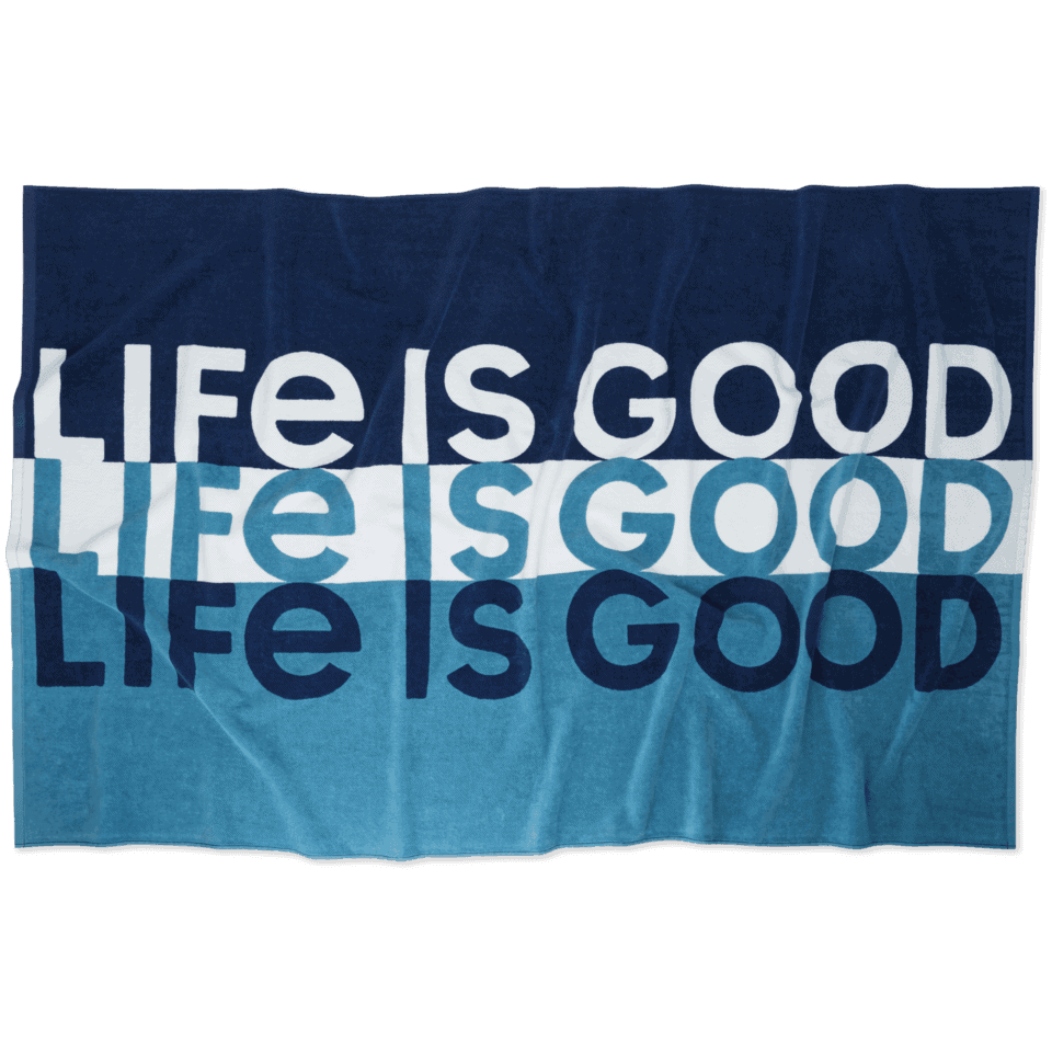 life is good beach towel striped