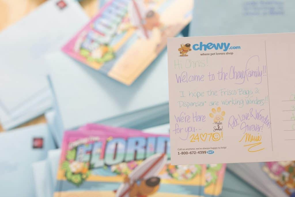 chewy welcome note
