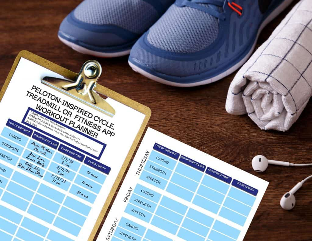 peloton workout planner schedule organizer calendar