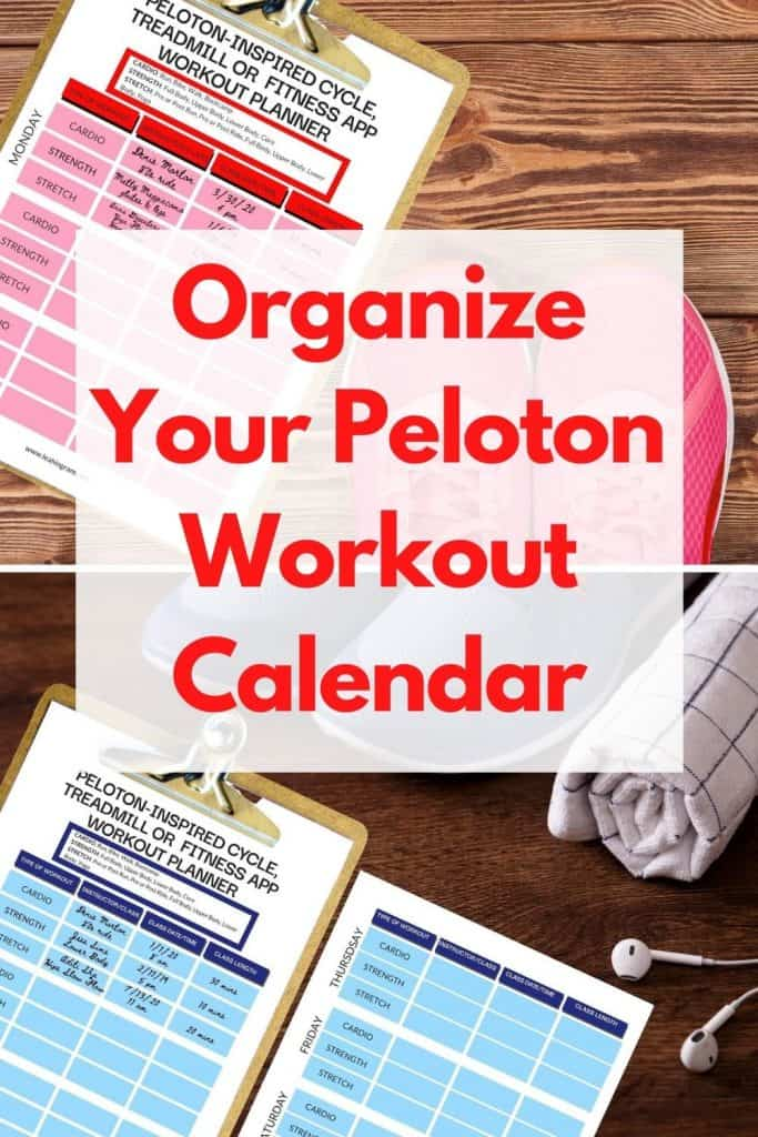 peloton organizer workout calendar