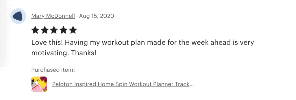 picture of etsy review peloton workout calendar