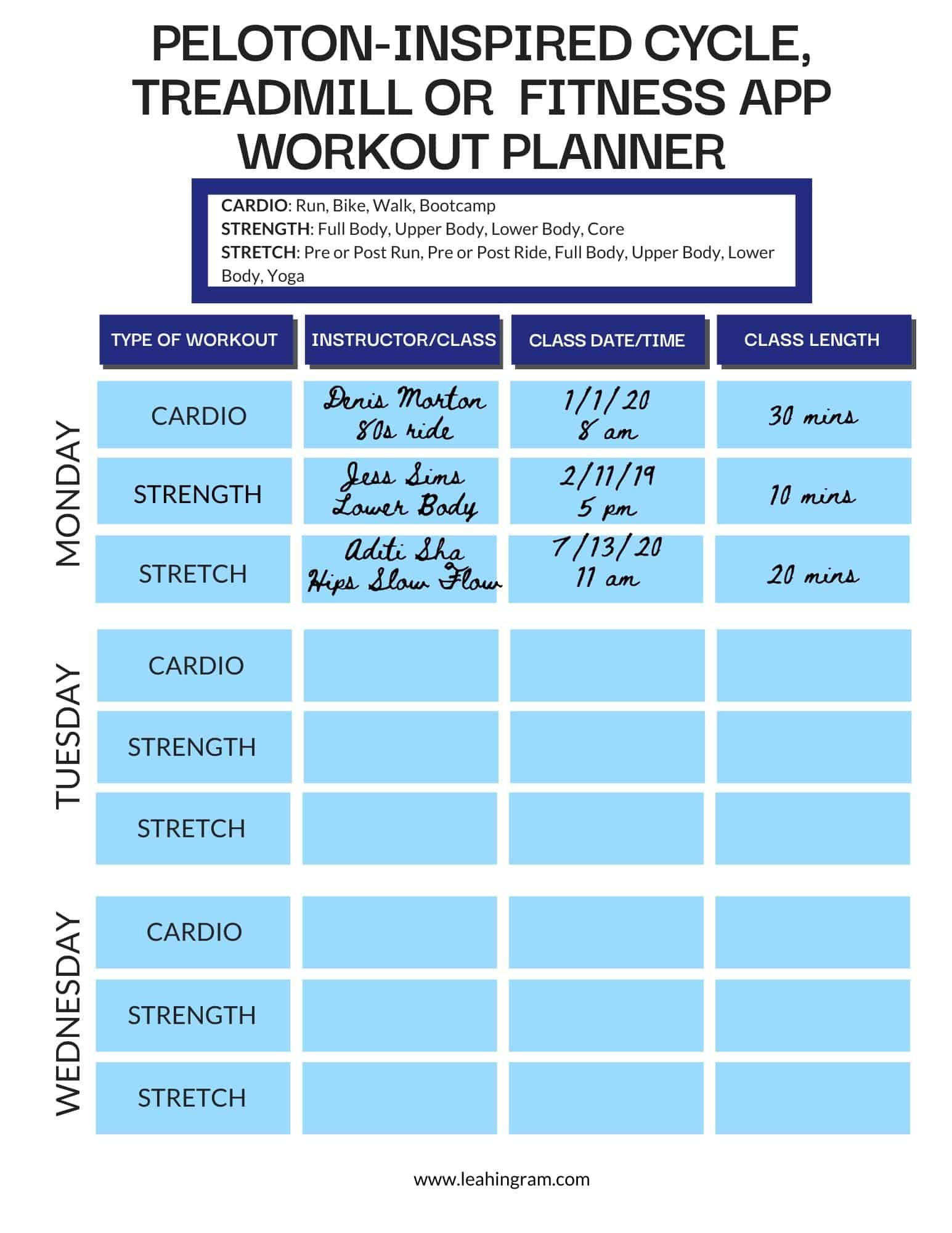 peloton workout planner