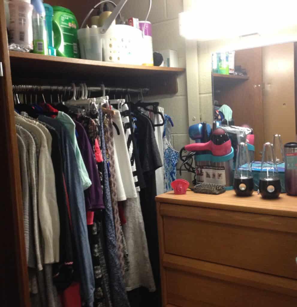 college dorm closet