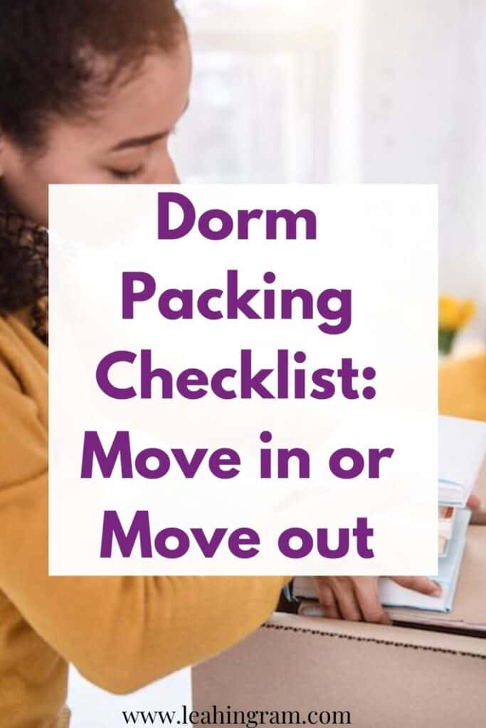 dorm packing checklist girl with boxes