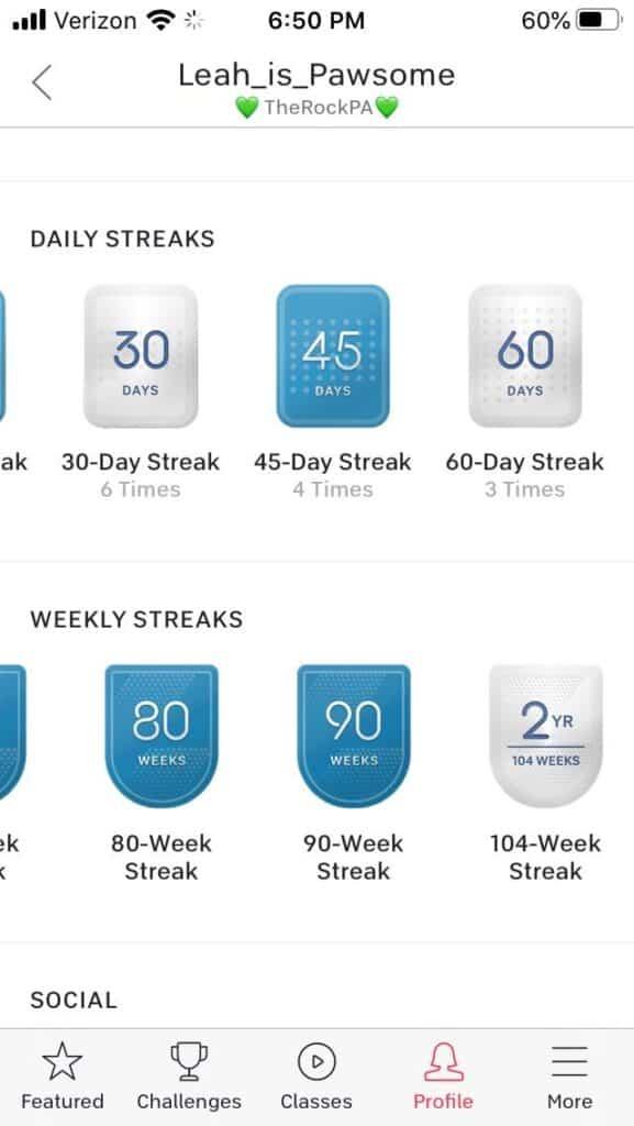daily weekly peloton streaks milestones