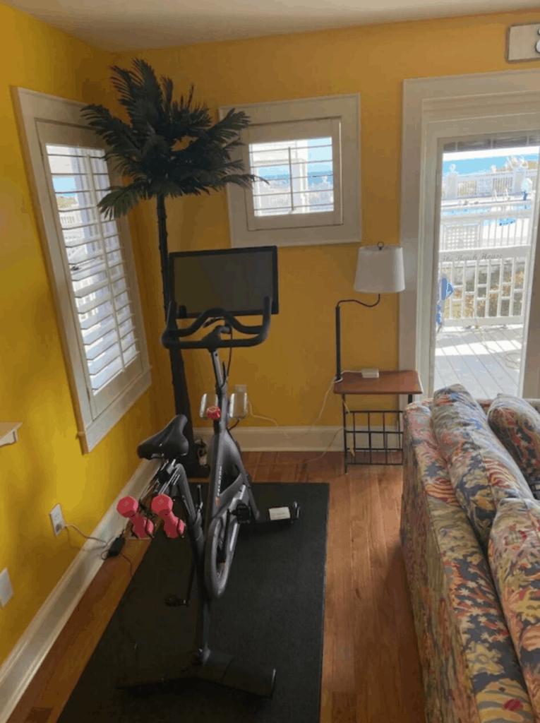 northcarolina vrbo vacation rental peloton in tiki room