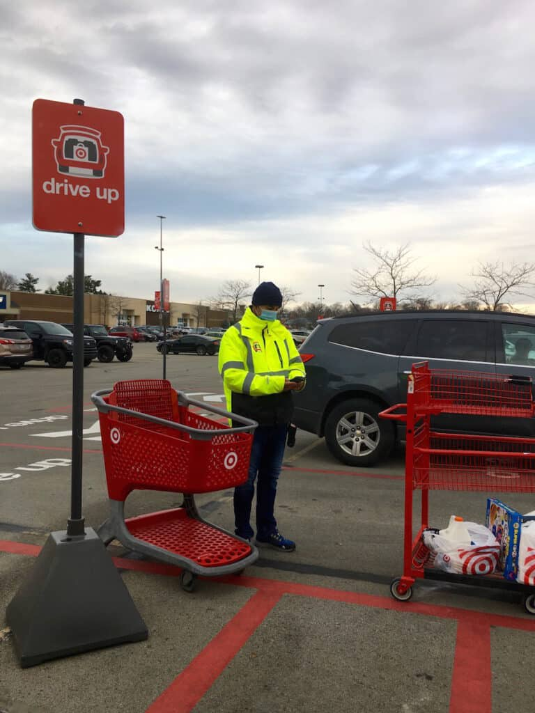 target employee at drive up location.