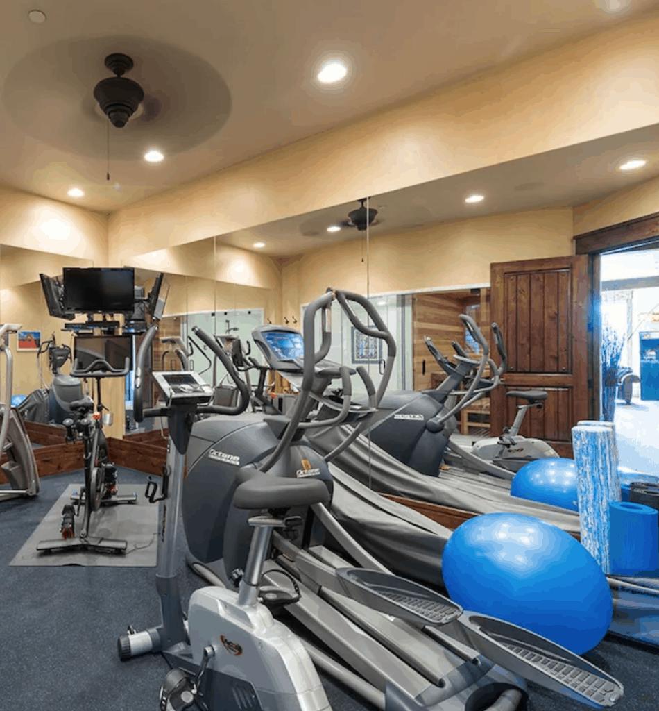 Peloton bike in mirrored home gym.