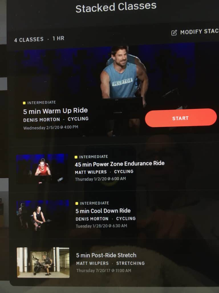 peloton cycle class schedule stacked example