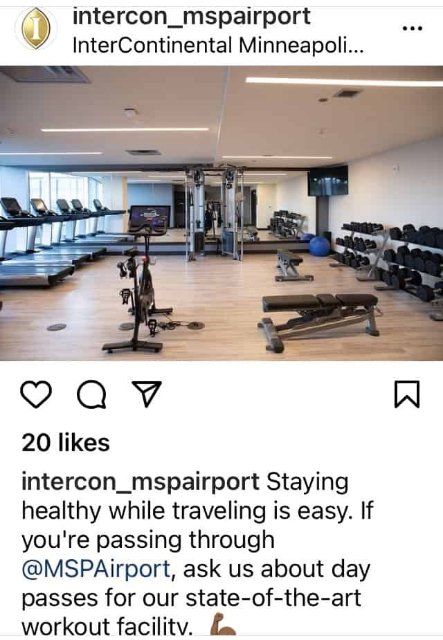 interncontinental msp airport hotel peloton cycle