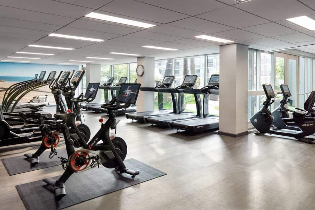 Fitness center at LAX marriott hotel